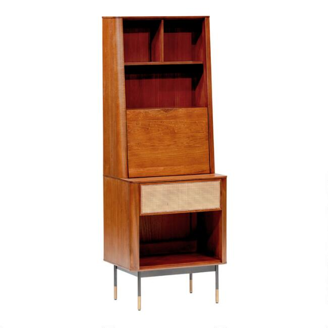 Wood Randall Storage Cabinet with Drop Down Desk
