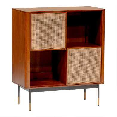 Wood and Rattan Randall Storage Cabinet