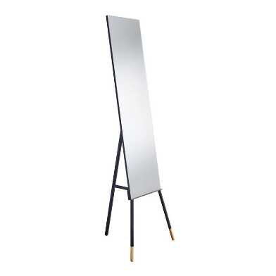 Black Metal And Natural Wood Standing Louise Floor Mirror