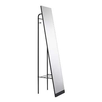 Black Metal Standing Tillie Floor Mirror With Storage