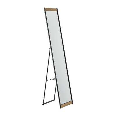 Black Metal And Wood Veneer Standing Albert Floor Mirror