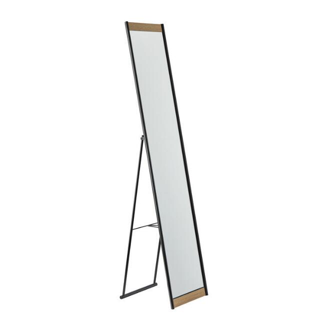 Metal And Wood Veneer Standing Full Length Albert Mirror