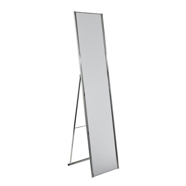 Champagne Metal Standing Alice Floor Mirror
