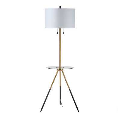 Brass Tripod Ennis Floor Lamp with Table