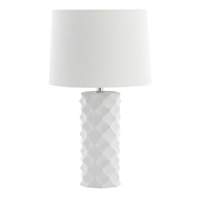 White Sculpted Ceramic Dominic Table Lamp