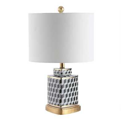 Black, Gray and White Ceramic Madras Table Lamp