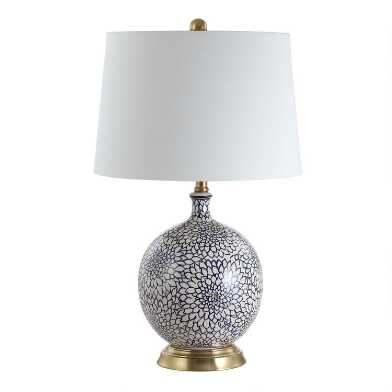 Round Blue and White Floral Ceramic Martha Table Lamp