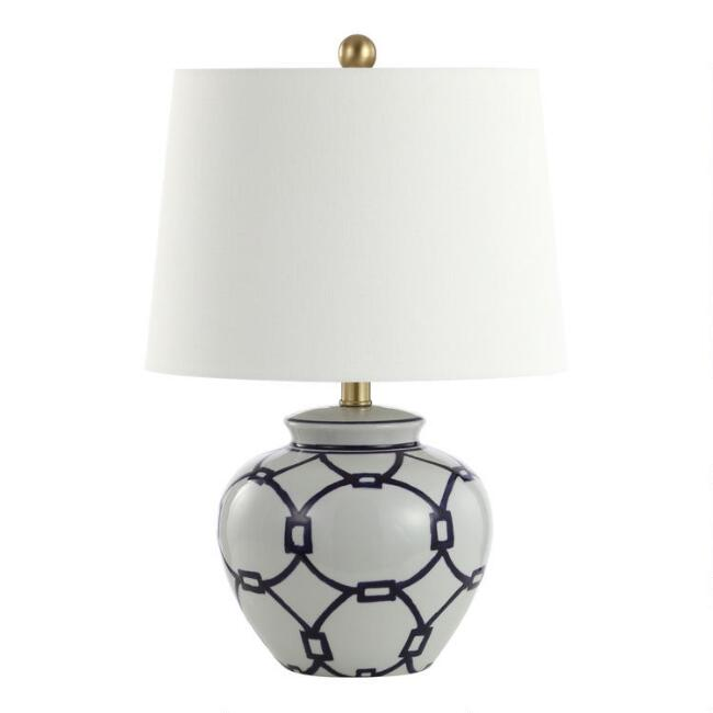 Blue and White Geometric Ceramic Whittaker Table Lamp