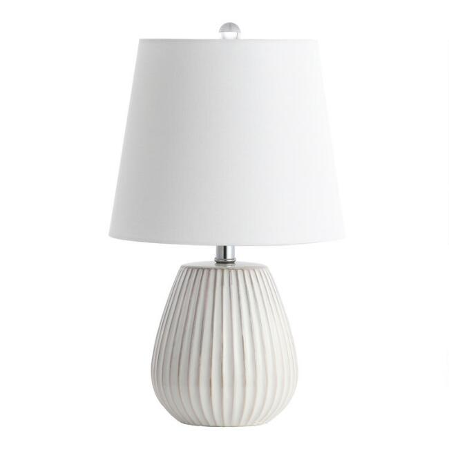 White Ceramic Ribbed Brock Table Lamps Set of 2