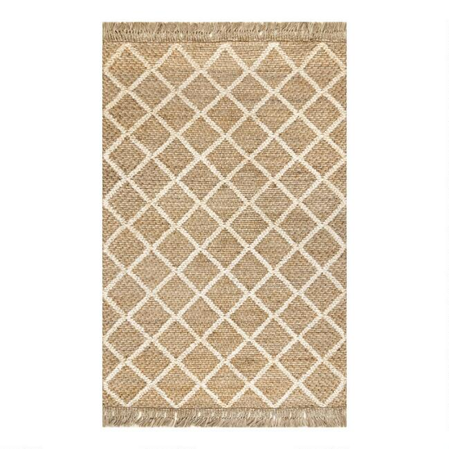 Natural Diamond Handwoven Jute Area Rug