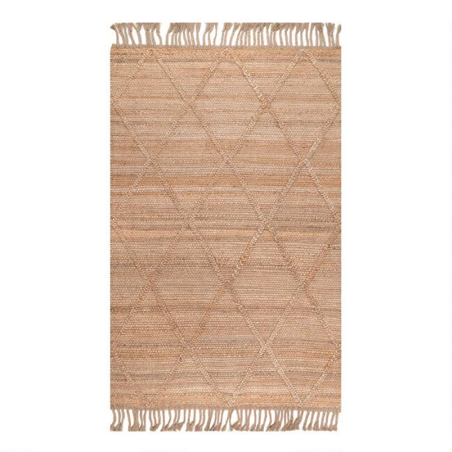 Natural Geometric Braided Jute Area Rug