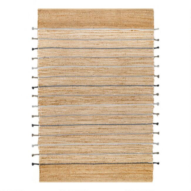 Natural and Gray Stripes Jute Blend Area Rug