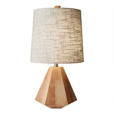 Birch Wood Geometric Kalish Table Lamp