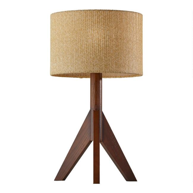 Walnut Rubberwood Tripod Gallagher Table Lamp