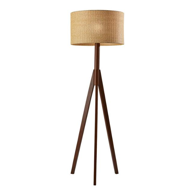 Walnut Rubberwood Tripod Gallagher Floor Lamp