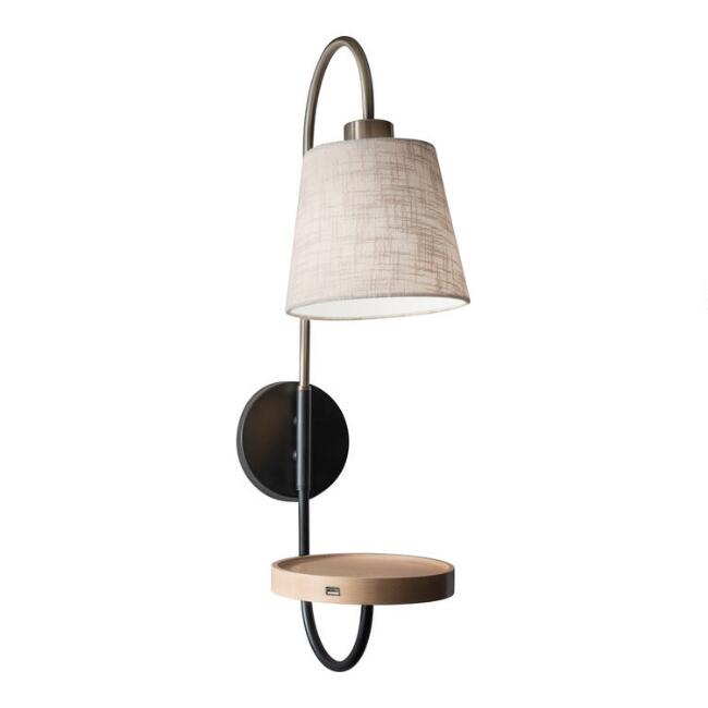 Wood and Metal Granada Wall Sconce with USB Port and Shelf