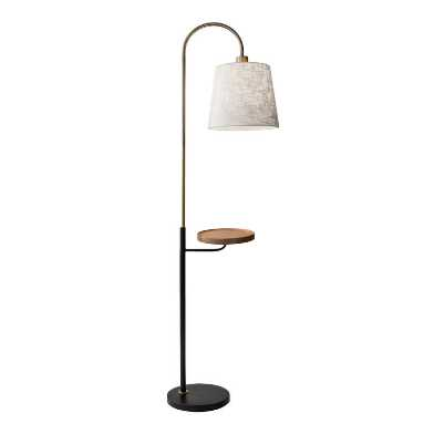 Wood and Metal Granada Floor Lamp with USB Port and Shelf