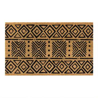 Natural And Black Geometric Mud Cloth Coir Doormat