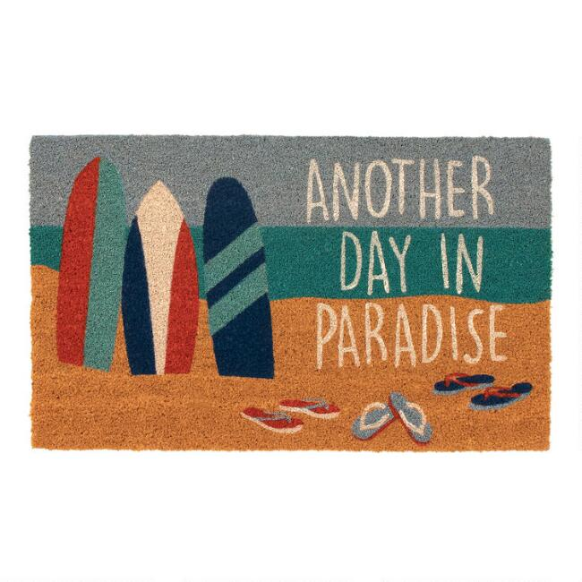 Another Day in Paradise Surfboards Coir Doormat