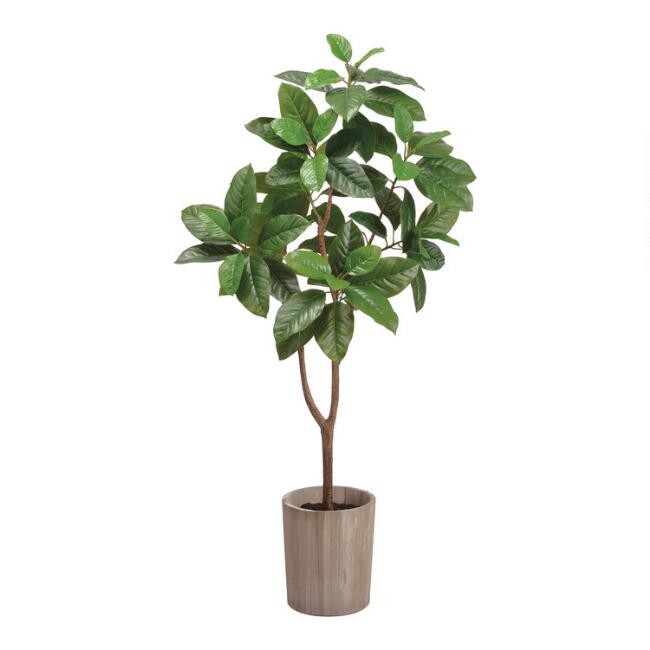 Faux Michelia Alba Tree In Wood Pot