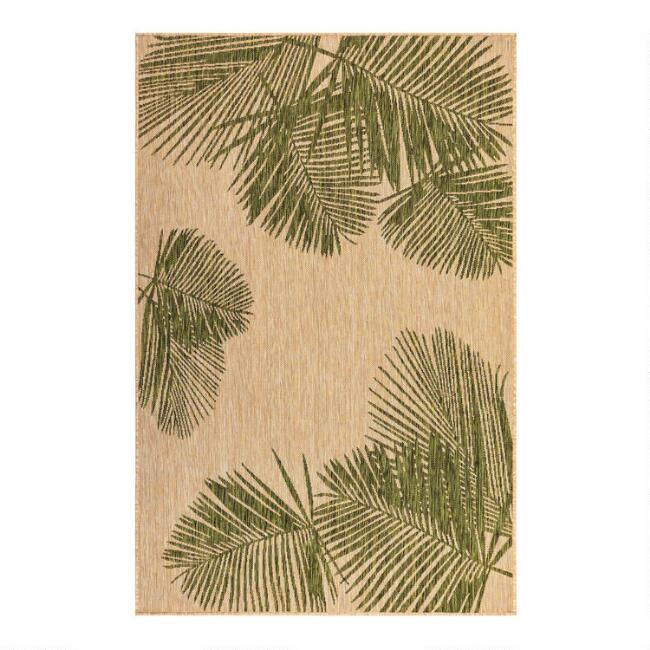 Natural and Green Palm Leaves Indoor Outdoor Area Rug