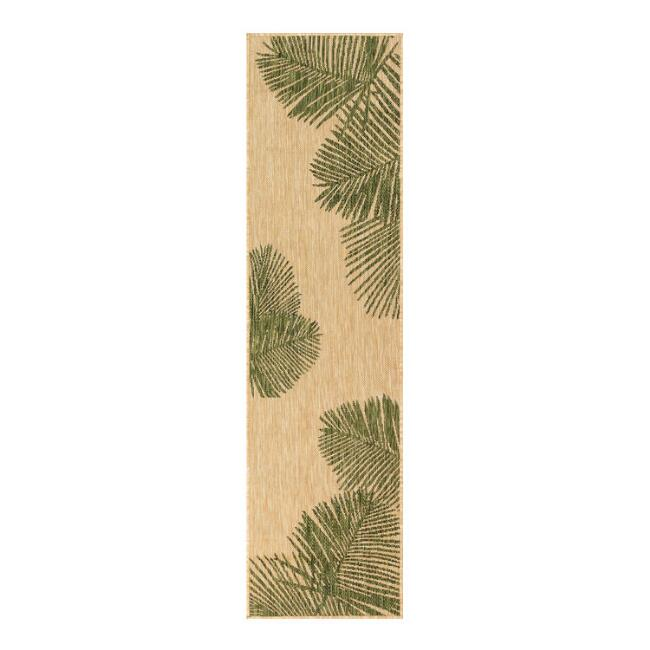 Natural and Green Palm Leaves Indoor Outdoor Floor Runner