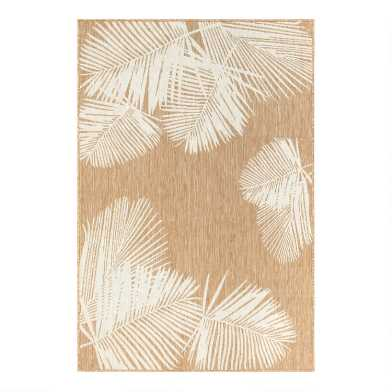 Natural and White Palm Leaves Indoor Outdoor Area Rug