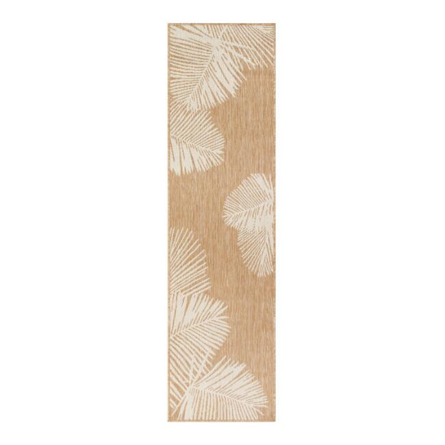 Natural and White Palm Leaves Indoor Outdoor Floor Runner