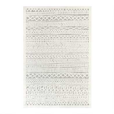Ivory Geometric Stripe Indoor Outdoor Area Rug