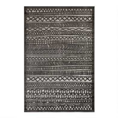 Charcoal Geometric Stripe Indoor Outdoor Area Rug