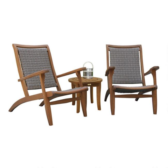 Eucalyptus and All Weather Wicker Erich 3 Piece Outdoor Set