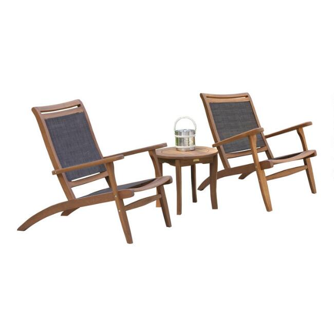 Gray All Weather Wicker Sling Erich 3 Piece Outdoor Set