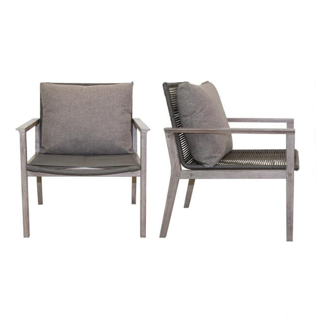 Gray Rope Loft Outdoor Lounge Chairs Set of 2