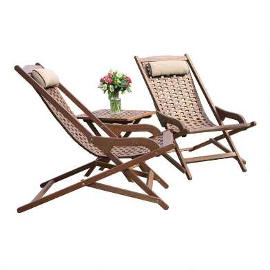 Eucalyptus Folding Swing Lounger 3 Piece Outdoor Set