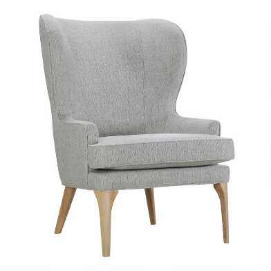 Oatmeal Nilan Wingback Chair with Natural Legs