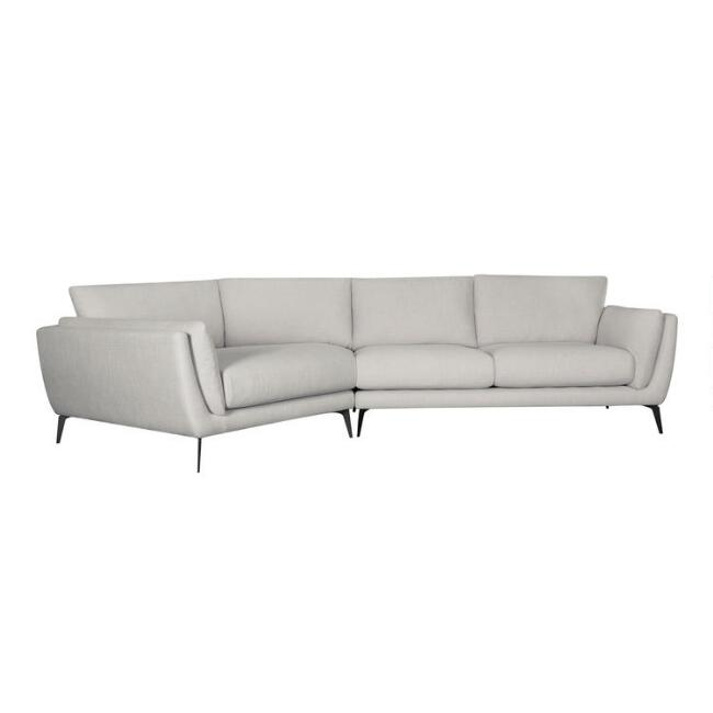 Oat Left Facing Angled 2 Piece Fletcher Sectional Sofa