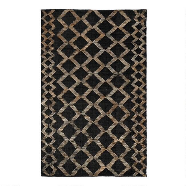 Black and Natural Geometric Jute Gobi Area Rug