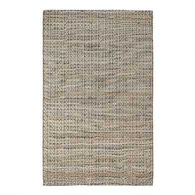 Natural and Black Jute Blend Indus Area Rug