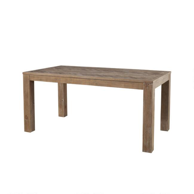 Weathered Pine and Herringbone Keaton Dining Table