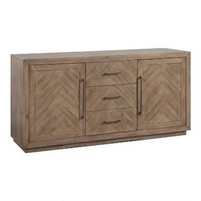 Weathered Pine and Herringbone Keaton Sideboard