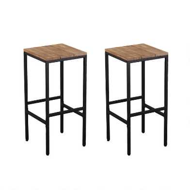 Metal and Acacia Backless Napa Outdoor Barstools Set of 2
