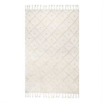 Off White Diamond And Dot Wool Deandra Area Rug