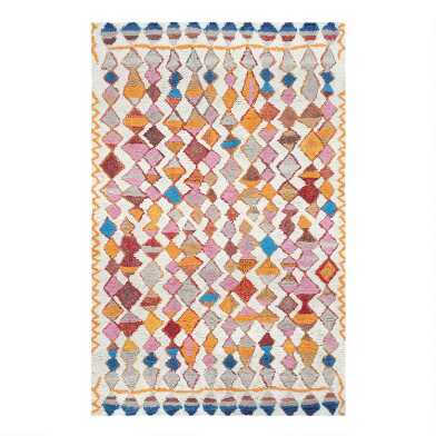 Multicolor Diamond Tufted Wool Blend Tangier Area Rug