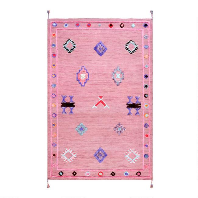Pink Emblem Tufted Wool Blend Juliet Area Rug