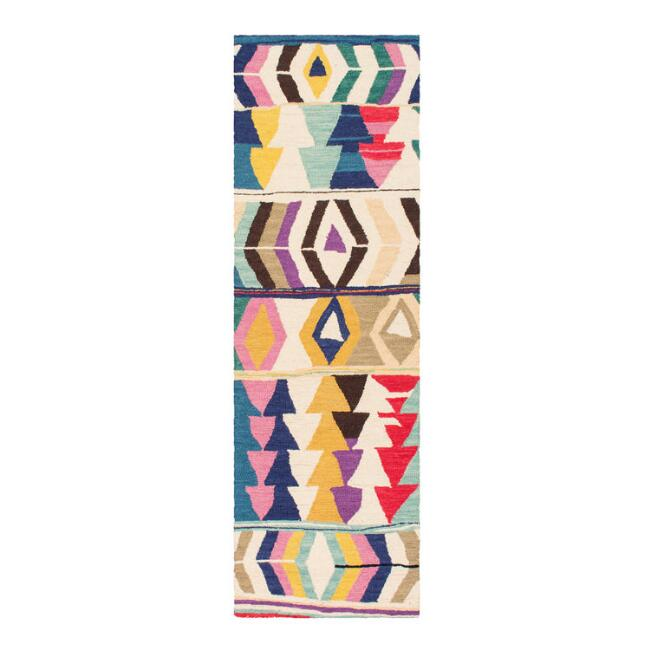 Multicolor Abstract Wool Agadir Floor Runner With Backing