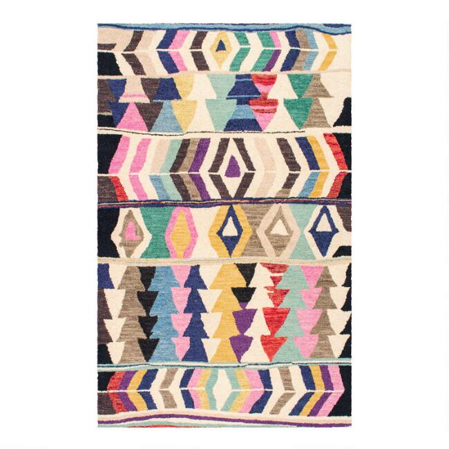 Multicolor Abstract Wool Agadir Area Rug with Backing