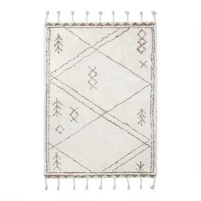 Off White And Brown Geometric Tufted Wool Taza Area Rug