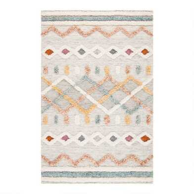 Ivory and Blue Geometric Hand Knotted Wool Logan Area Rug