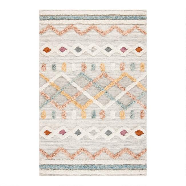 Ivory And Blue Geometric Hand Knotted Wool Logan Area Rug World Market