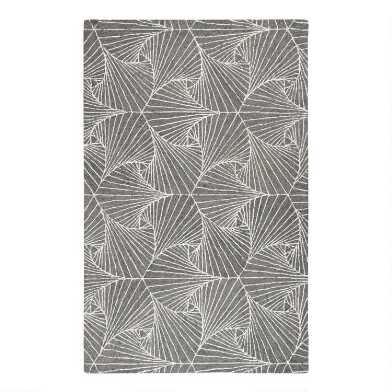 Gray and Ivory Abstract Tufted Wool Anita Area Rug